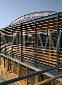 THE NATIONAL TENNIS CENTRE, ROEHAMPTON, LONDON, UK, HOPKINS ARCHITECTS, EXTERIOR, DETAIL OF BRISE SOLEIL